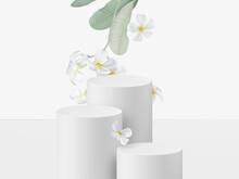 Product Display Mockup Design, Pastel Circle Podium Decorated With Plumeria Flowers