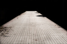 Black And White Image Of Brick Path Or Sidewalk With Perspective Going Into The Darkness,  With Sunlight Reflecting Of The Bricks.