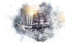 Old Railway Freight Wagon, Train, Art, Illustration, Drawing, Sketch, Antique, Retro, Vintage.
