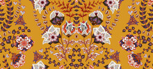 Dense Floral Ornamental Hand Draw Fantasy Flowers Pattern. Vector. Striped. Yellow