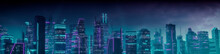 Cyberpunk Cityscape With Purple And Cyan Neon Lights. Night Scene With Visionary Superstructures.