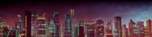 Futuristic Cityscape With Orange And Green Neon Lights. Night Scene With Visionary Skyscrapers.