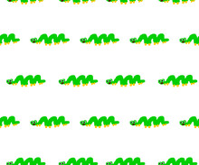 Cartoon Animal Green Horn Hand Drawn Isolated Background And White Seamless