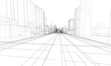 Vector 3d Urban Landscape. Buildings And Roads