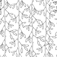 Barberry Seamless Pattern. Hand Drawn Berry Background.