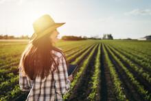 Woman Farmer Walking Outdoor