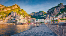 Bright Summer View Of Diocesano Di Amalfi Church. Panoramic Morning Cityscape Of Atrani Town, Italy, Europe. Stunning Mediterranean Seascape. Traveling Concept Background..