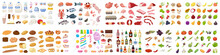 Big Food Set. Collection Of Various Meal, Fish And Meat, Vegetables