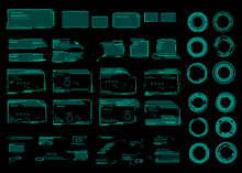 Set Of Futuristic Green Frames, Dialog Boxes, Circles And Targets. Elements For The User Interface HUD, UI. Modern Futuristic Digital Frames For Games. Set Of Cyber Frames For HUD User Interface
