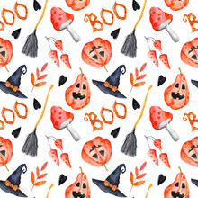 Halloween Seamless Pattern On White Background. Watercolor Jack O'lantern, Toadstools, Hearts And Leaves Cute Autumn Repeat Print. Fall 31 October Background.