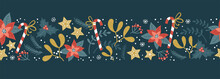 Lovely Hand Drawn Christmas Seamless Pattern, Cute Greenery, Flowers And Snowflakes, Great For Textiles, Wrapping, Banners, Wallpapers - Vector Design