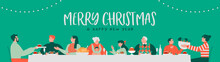 Christmas New Year Family Dinner Party Banner