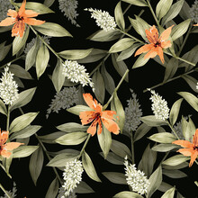 Seamless Pattern With Botanical Green Branches And Orange Flowers On Black Background, Watercolor Hand Painted