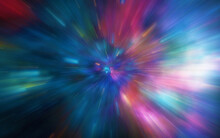 Motion Blur Through Universe, Moving At The Speed Of Light Tunnel Galaxy, Hyper Jump Abstract Color Background