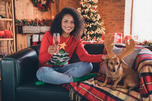 Photo Of Sweet Funny Dark Skin Woman Dressed Red Sweater Drinking Champagne Puppy Smiling Indoors House Home Room