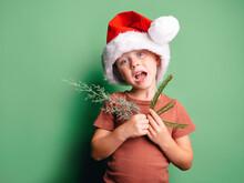 Funny Boy In Santa Claus Hat