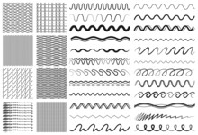 Wave Lines. Drawing Line, Dividers Or Decorative Ornaments. Zigzag Seamless Pattern Collection, Elements For Diary, Cards Invitation Vector Set