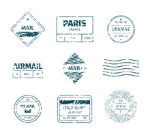 Postal Stamp. Grunge Post Templates Vintage Blank Tags Stripped Lines Marks Textures Garish Vector Stamp