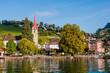 canvas print picture - Weggis, Pfarrkirche, St. Maria, Dorf, Seeufer, Vierwaldstättersee, Wanderweg, Rigi, Luftseilbahn, Sommer, Herbst, Zentralschweiz,  Schweiz