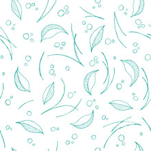 Abstract Elegance Seamless Pattern With Floral Background. Seamless Floral Pattern. Pine Needles And Leaves, Folk Style For Textile, Wallpaper And Wrapping