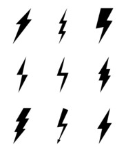 Set Of Lightning Flat Icons. Lightning Flash Sign. Symbol Of Energy, Thunder, Electricity. Fast, Power, Speed. Electric Zipper Bolt With Shading And Line Graphic Effects