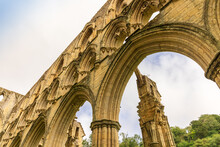 Architectural Details At The Ruins Of Rievaulx Abbey, A Cistercian Abbey In Rievaulx  Near Helmsley In The North York Moors National Park.
