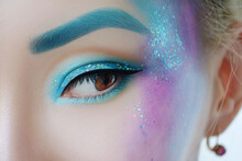 Fantasy Mermaid Blue Glittery Makeup