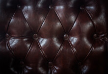 Close Up Vintage Brown Leather Of Sofa Texture Background.