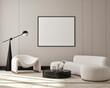Leinwandbild Motiv mock up poster frame in modern interior background, living room, Scandinavian style, 3D render, 3D illustration
