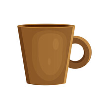 Earthenware Ceramic Cap Brown Color