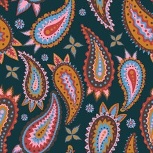 Paisley Seamless Multicolored Pattern. An Endless Buta Motif For Fabrics, Carpets, Prints And More.