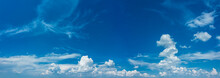 Deep Blue Sky And Different Types Of White Clouds In It. Beautiful Nature Background.