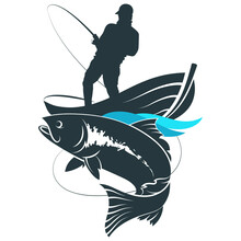 A Boat On The Waves And A Fisherman With A Fishing Rod. Angler Sportsman Catches Big Fish