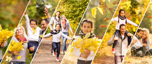 Collage With Several Photos Of Family Outdoor At Fall Park. Happy And Beautifulfamily At Autumn Season. Copy Space.