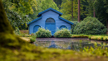 Blue Boathouse With Characteristic Architecture