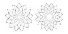 Abstract Geometric Floral Design Elements.