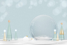 Happy New Year And Merry Christmas Background. Xmas Snowball With Conical Tree On Snow,Glass Snow Globe 3d Design. Festive Christmas Elements.Holiday Poster,greeting Card, Flyer With Copy Space