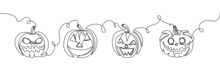 Halloween Pumpkins With Carved Face One Line Art. Continuous Line Drawing Of Halloween Theme, Horrible, Harvest, Autumn Mood, Vegetable, Sign Of Autumn.