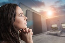 Women Pray From God Blessing To Have A Better Life. Christian Life Crisis Prayer To God.