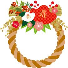 お正月飾り素材、しめ縄のフレーム