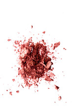 Powder Cosmetics, Mineral Organic Eyeshadow, Blush Or Crushed Cosmetic Product Isolated On White Background, Makeup And Beauty Banner, Flatlay Design.