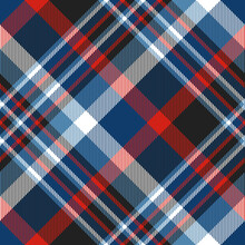 Seamless Plaid Check Pattern In Blue, Red, Black And White. Diagonal Design.