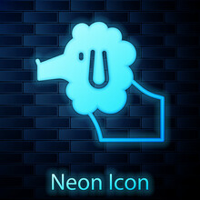 Glowing Neon French Poodle Dog Icon Isolated On Brick Wall Background. Vector