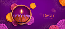 Happy Diwali. Paper Graphic Of Indian Diya Oil Lamp Design With Round Border Frame On Indian Festive Theme Big Banner Background. The Festival Of Lights.