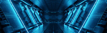 Blue Spaceship Interior With Neon Lights On Panel Walls. Futuristic Corridor In Space Station Background. 3d Rendering