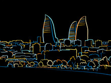 Colorful Baku Azerbaijan Panorama Drawing On Black