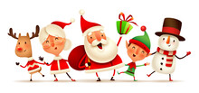 Happy Christmas Companions. Christmas Character - Santa Claus, Mrs.Claus, Snowman, Reindeer And Elf On White Background. Isolated.
