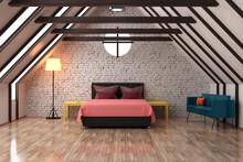 Three Dimensional Render Of Clean Attic Bedroom With Wooden Floor
