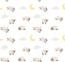 Seamless Sheep Cartoon Pattern. Sweet Dreams