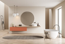 Bathtub And Sink With Mirror In Light Wooden Bathroom Interior With Ladder